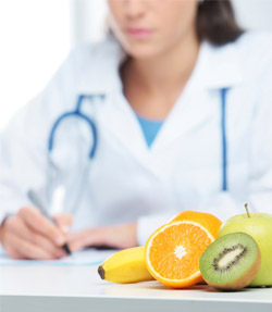 doctor with fruit