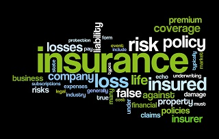 image of insurance words in various directions